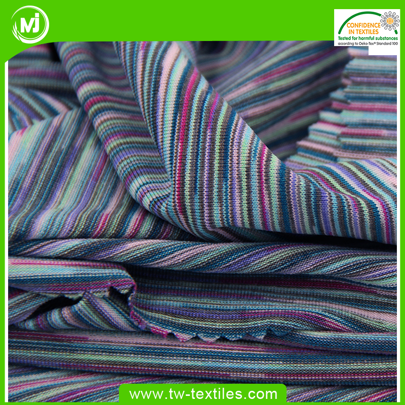 94% Polyester 6% Spandex Space Dyed Single Jersey Yarn Melanged Stretch fabric