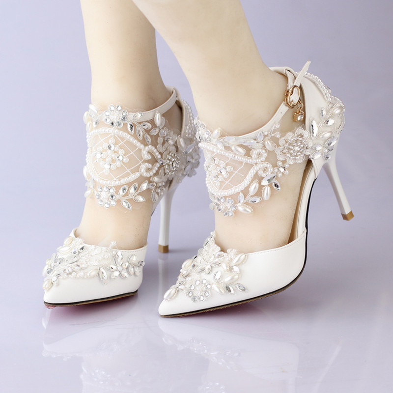 New Lace Flower Bridal Dress Shoes Pointed Toe High Heels