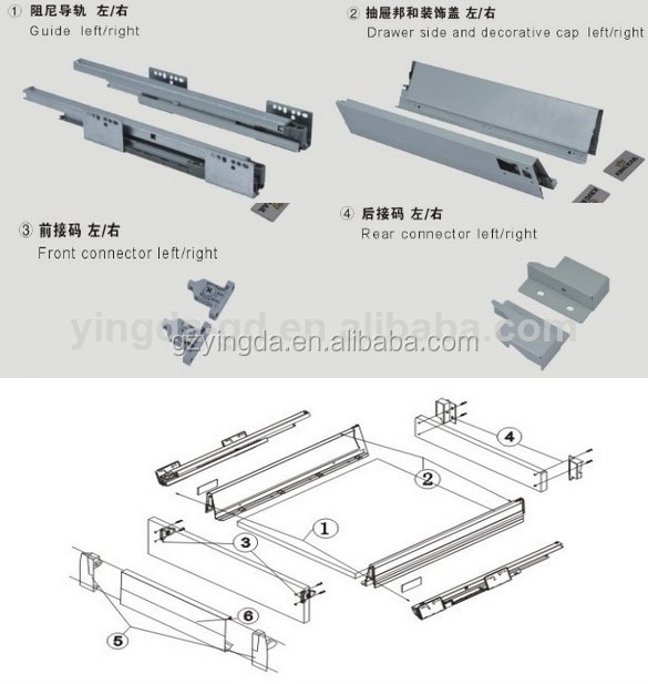 Kitchen Cabinet Drawer Slide Parts/metal Box Drawer Slides