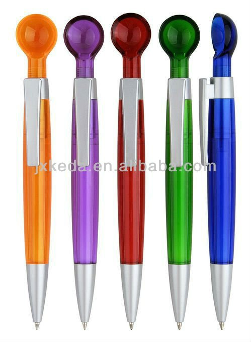 2014 Matt plastic promotional scoop button click ball pen soup ladle