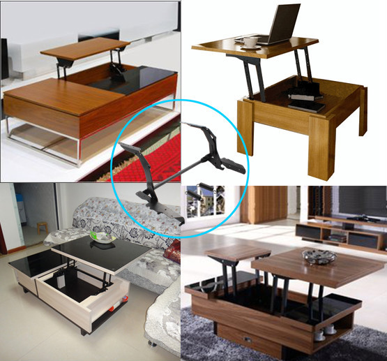 Hotel furniture spring transformable coffee table - Table transformable up down ...