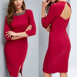 Fashion Jewelry Necklaces Bandage Dresses Women Lady Working Cut Out Midi Dress