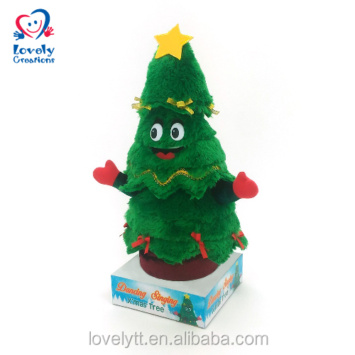 "15"" Popular Wholesale festival Items Twisting And Singing Plush Christmas Tree With Music Toy"