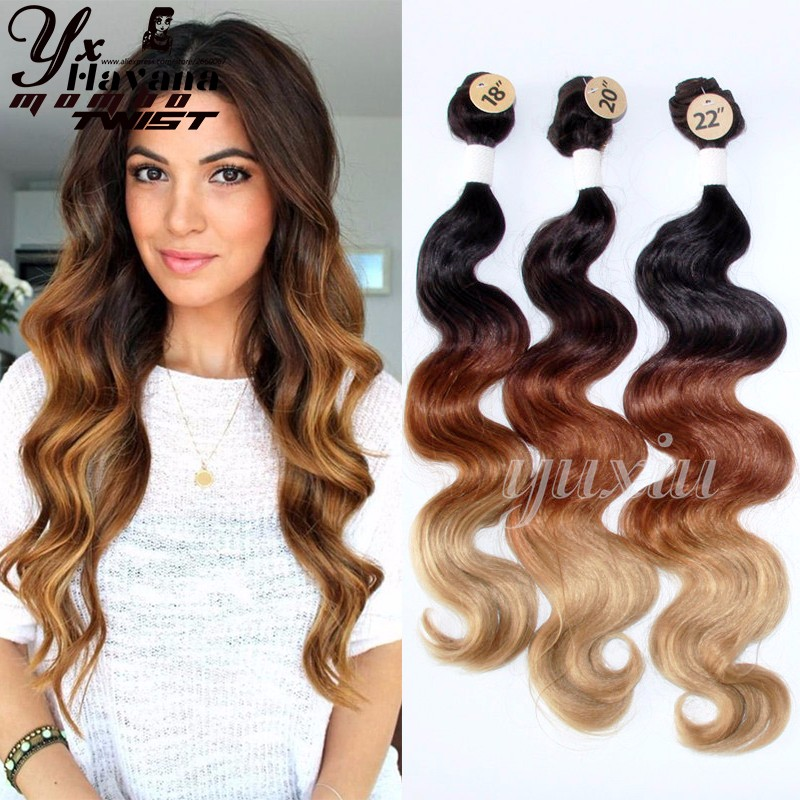 Yxcherishair Black Brown Blonde 613 Ombre Synthetic Hair Extensions
