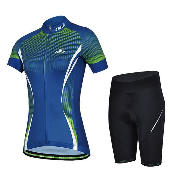 New 2014 Cheji Women blue Cycling Jersey and Shorts Set Short Sleeve cycling wear sportwear Quick dry
