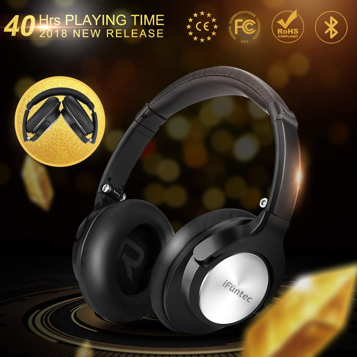 Bluetooth Headphones Over Ear, iFuntec Noise Cancelling Bluetooth Headphones Dual Modes Wired Headphones Headset CSR Deep Bass Headphone,≥40H Playtime for Travel Work Computer Cellphone Black