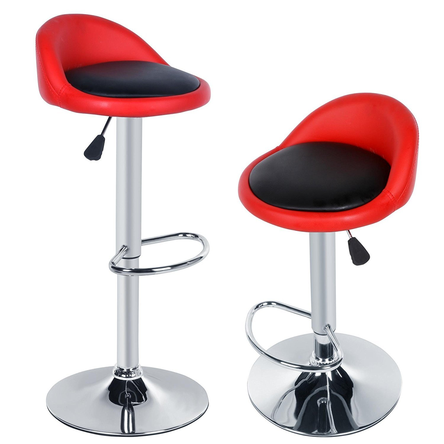 New Bar Chairs 2pcs Synthetic Leather Adjustable Rotating Height Bar Stool Chair for Home, Kitchen, Office US STOCK (Red Black)