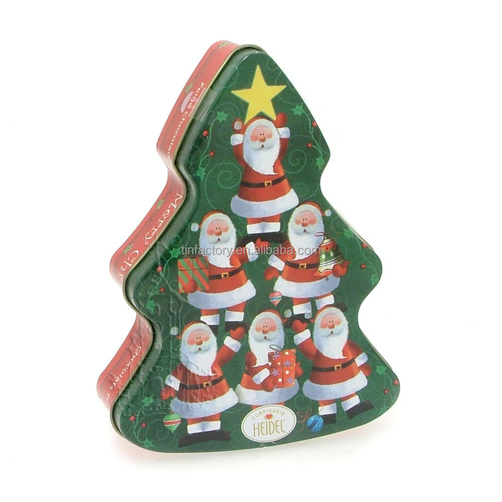 Promotional christmas tree shape candy tin box buy for Christmas tree in a box