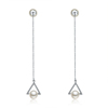 New Design Fashion Earring Real Gold Plating Earring Triangle Crystal Pearl Long Earring