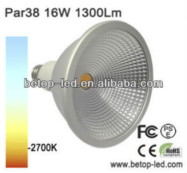 high power e27 waterproof led par38 led spot light 5000k 16w 1300lm