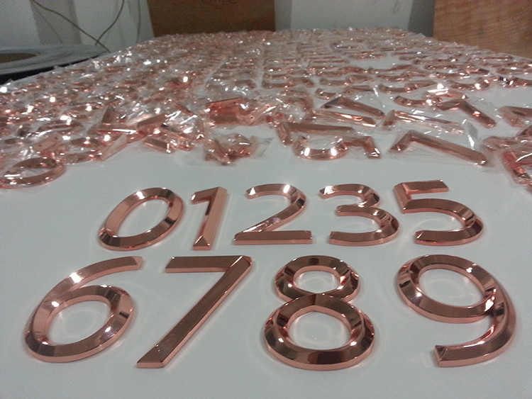 high quality different color plating rose gold metal With rose gold metal letters
