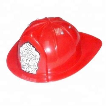 Niños accesorio de vestir traje del bombero juguete sombrero de jefe de bomberos  casco rojo plástico 2e04bdbc863