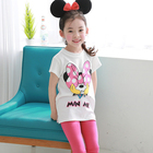 Girls' casual wear with pink mickey T shirt with 7 minute trousers custom baby cotton clothing sets