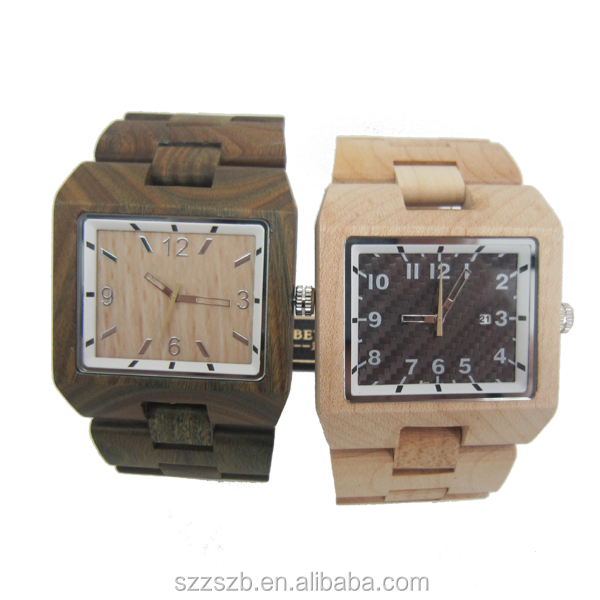 Day/Date,Water Resistant Feature Big Face Square Wooden Watches For Man