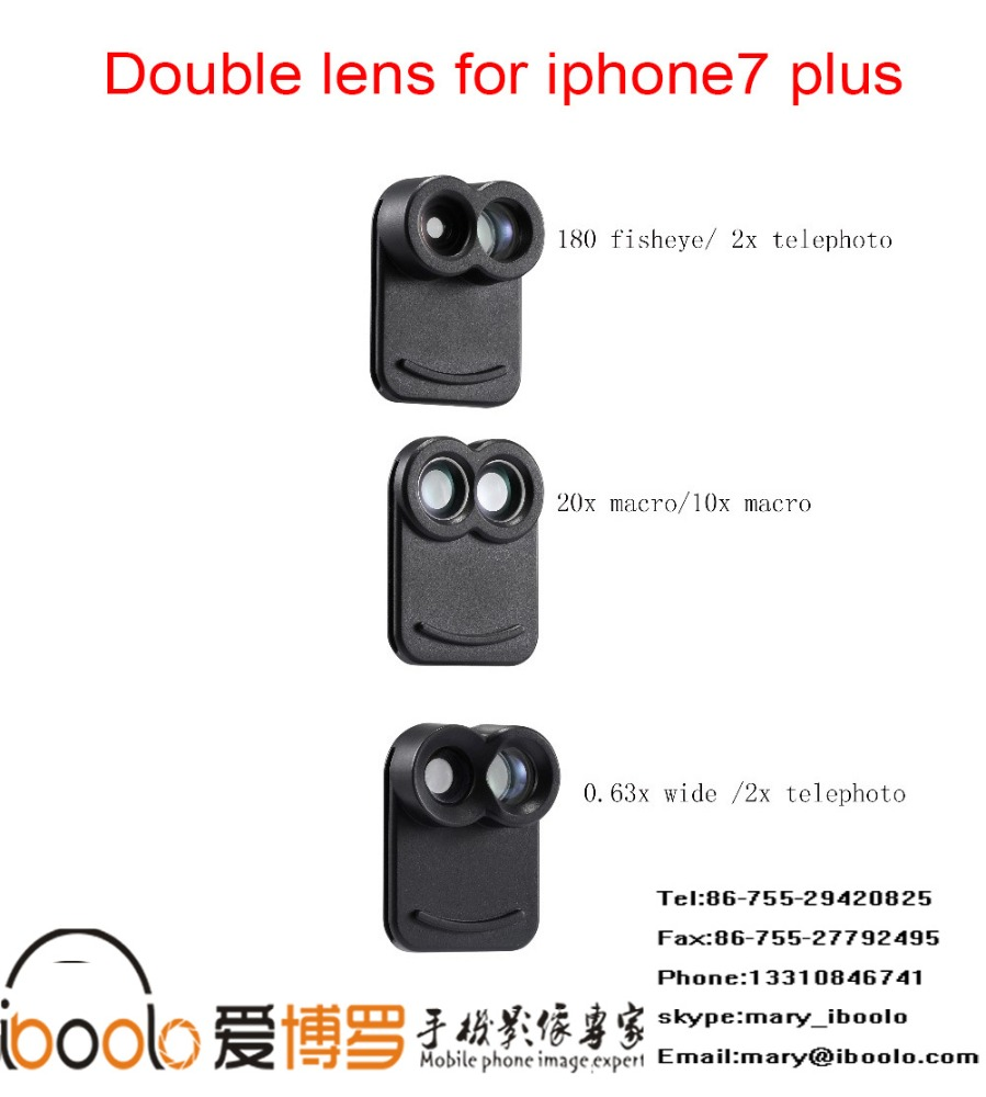 iboolo mobile phone dual lens for fisheye + 2x telephoto lens camera