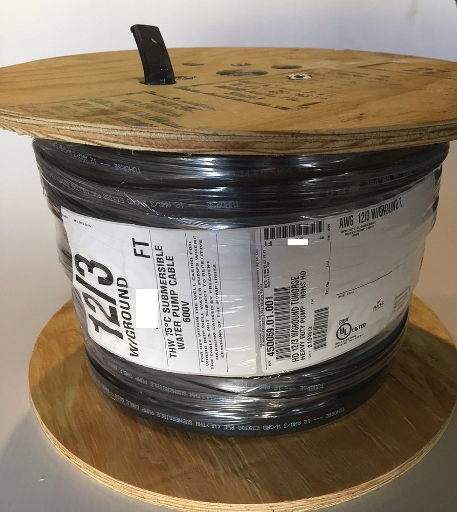 500 feet 12/3 w/ ground, flat HD copper submersible pump cable, stranded 3-wire + 1-ground, jacketed, UL listed