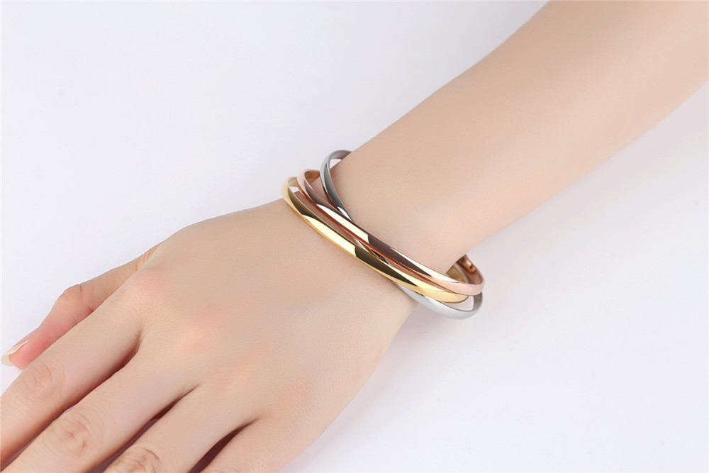 Fashion bangle Women Three Color Tricyclic Bangles Bracelets Gold Plated 316L Stainless Steel Bangles Free Shipping Hot Sales