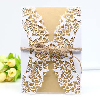 hk89 laser cut vine and butterfly cut design christmas invitations greeting cards with craft paper