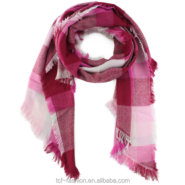 a5a463f6508 Ladies  polyester oblique tassel franges checked white and red stripped  woven scarf