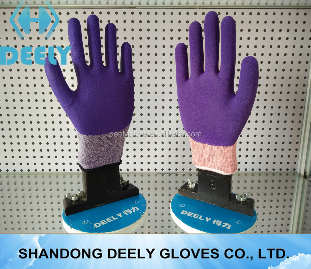 new design hot sale string knit sandy finish yellow latex coated female work glove