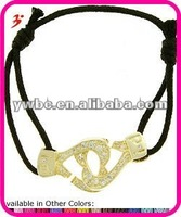 large Gold Tone Cubic Zirconia Heart Cuffs of Love Bracelet with Adjustable black Leather Cord(B100843)