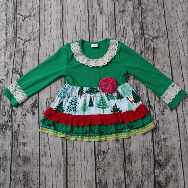af26e599c SUE LUCKY christmas Boutique green dress with christmas trees designs and  have a flower winter baby clothes 2016, View winter baby clothes 2016, ...