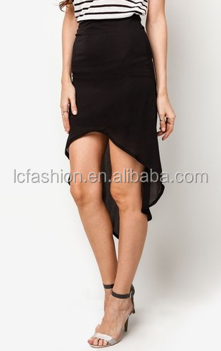 Short front Long Back black Skirt ,New fashion Skirt