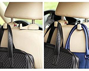 Double-Hook Vehicle Hangers Auto Car Seat Steel Headrest ShoulderBag Holder Hook Vehicle Universal Car Back Seat Headrest Hanger Holder Hook for Bag Purse Cloth Grocery (Ivory)