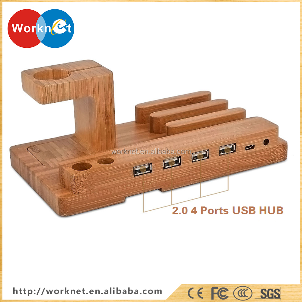 Chine fabricant bambou en bois 4 en 1 USB 4 ports micro USB hub de charge stand station pour Apple Montre/iPhone/iPad/iPod