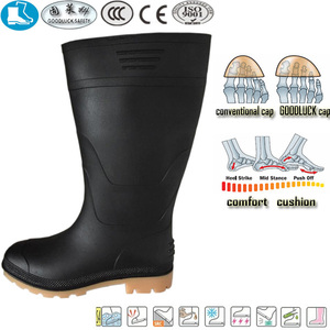 new style black gum pvc nitrile rubber steel toe safety muck boots