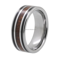 Whosale high quality red wood inlay tungsten men's wedding bands
