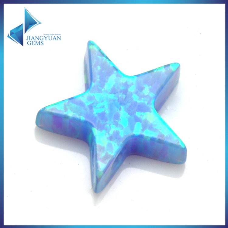 wholesale price 10*10mm OP06 blue star cut synthetic opal loose bead