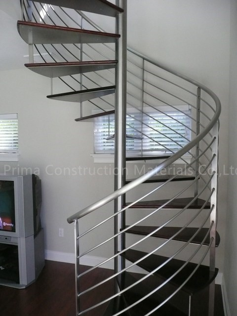 Curved Handrail Glass Tread Prefabricated Spiral Stairs
