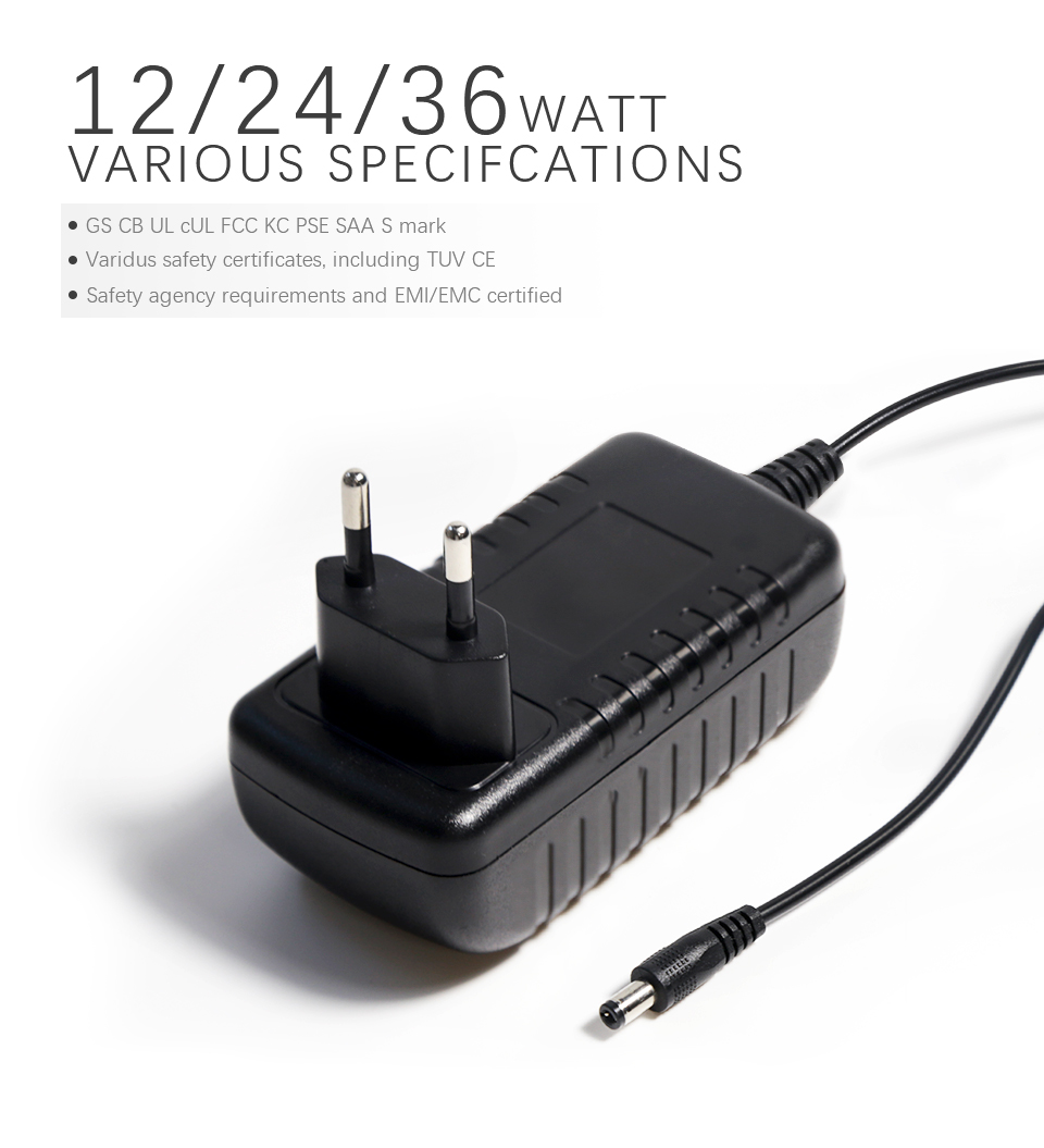 Worldwide power adapter eu us uk au plug  Wall Mount Power adapter 12V  24w 2A 1A Ac Dc Charger Adapter for Audio