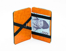 2016 Custom cheap Luxury PU leather wonder magic wallet with elastic straps