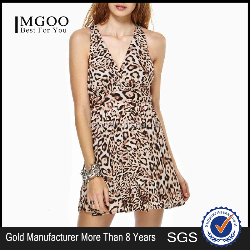 MGOO New Wholesale OEM Sexy Leopard Printed V-Neck Chiffon Dress Backless Slip Mini Party Dress 8084