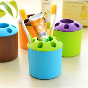 Creative porous candy color couples toothbrush toothpaste and toothbrush holder seat multifunctional desktop pen rack