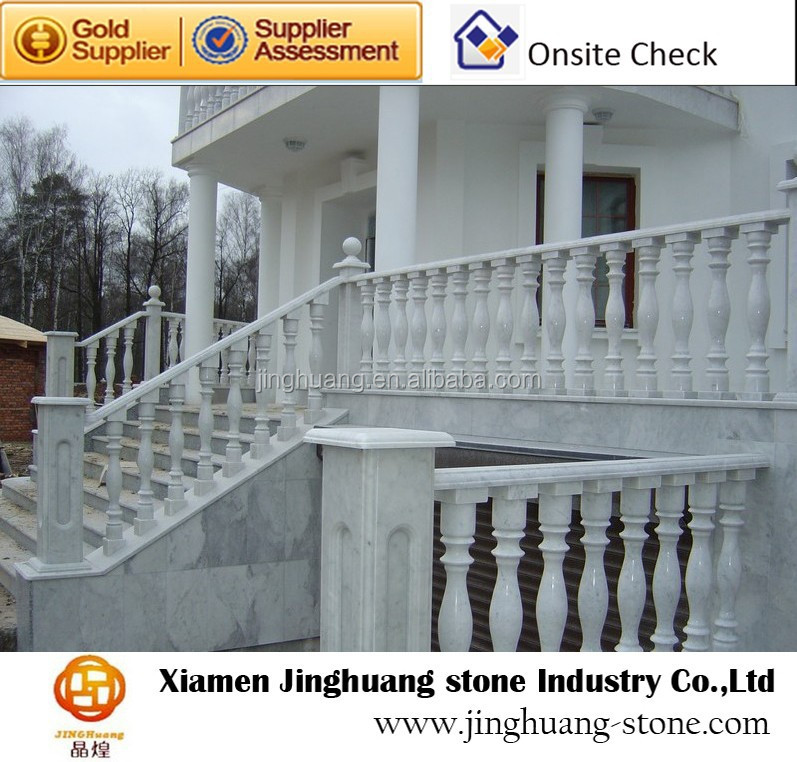 Outdoor white marble handrail for stairs