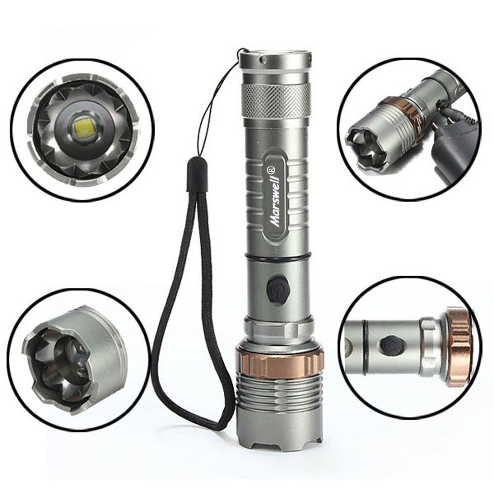 2000lm 3 Mode Waterproof Lotus Head LED Flashlight Suit Gray