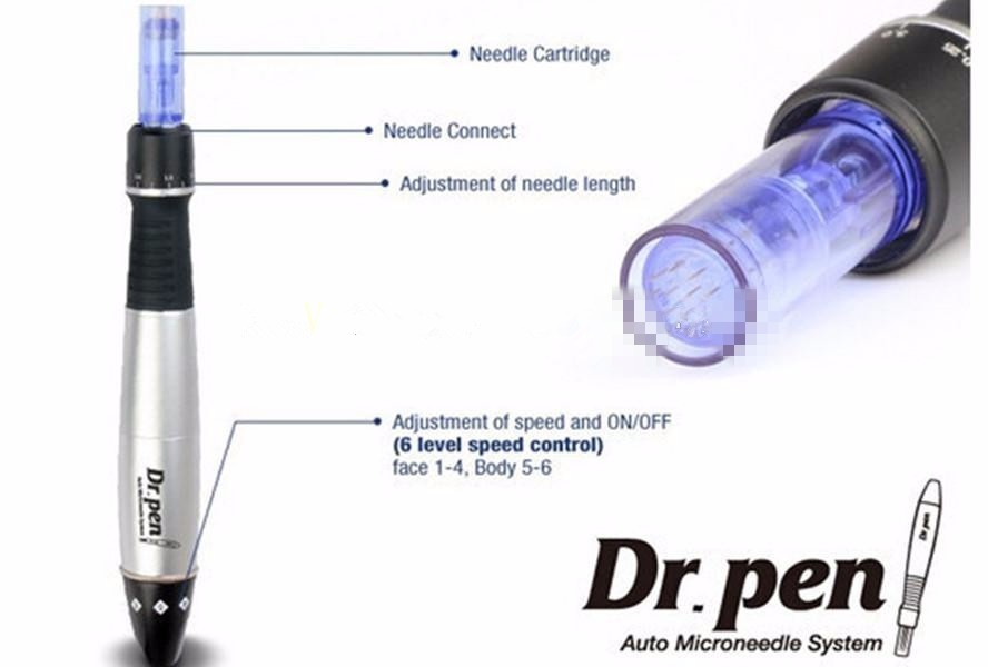 Newest Dr.Pen A1-C 6 Levels Speed Derma Pen Electric Microneedle Insrument Needle Pen Kits Derma Pen with 12 Needles Cartridges