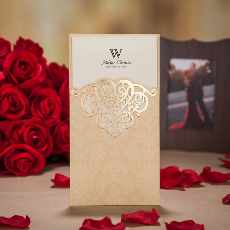 Wedding Invitation Card Paper: 100pcs/lot Laser Cut Wedding Invitations Romantic Free