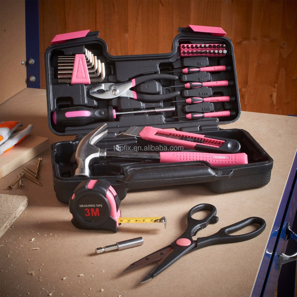 39 Piece Tool Set Kit Box Pink Women Ladies Girls Female Hammer Pliers Scissors