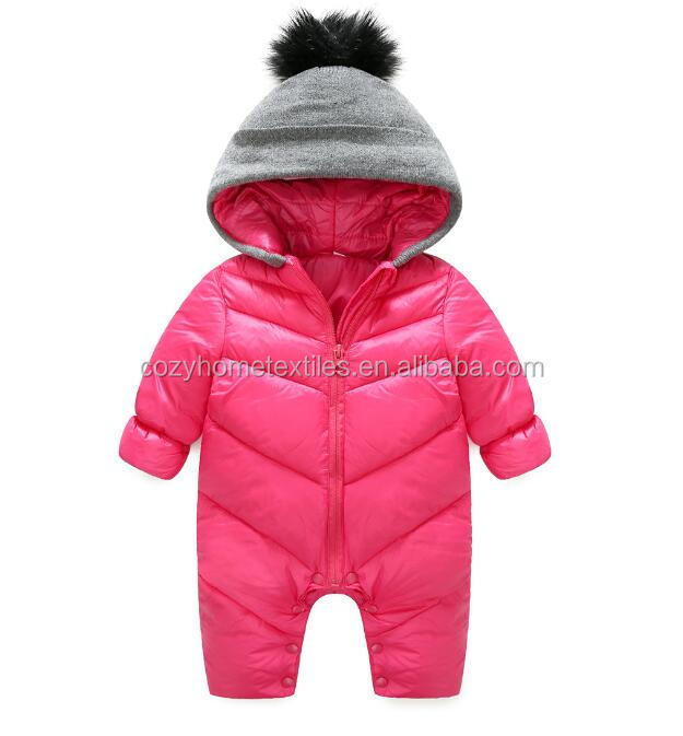 2017 Amazon Hot Sale China Supplier Unisex Baby Hooded Puffer Jacket Jumpsuit Winter Warm Snowsuit Romper