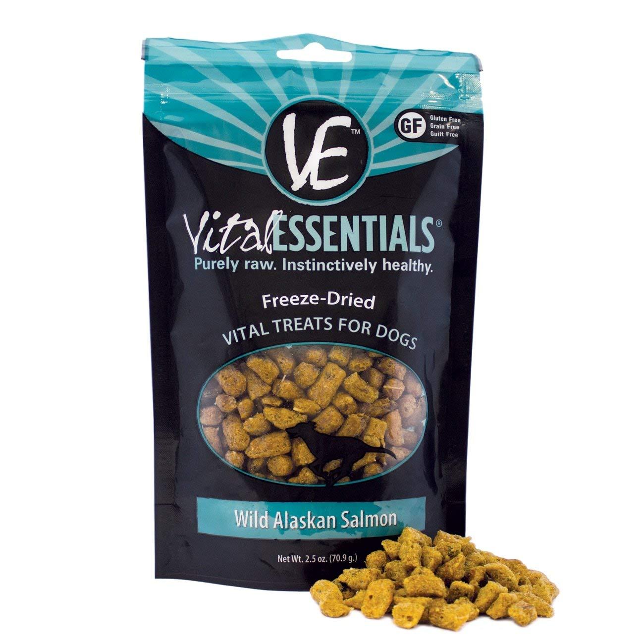 Vital Essentials Freeze-Dried Wild Alaskan Salmon Raw Dog Treats, 2.5 oz. Bag. Fast