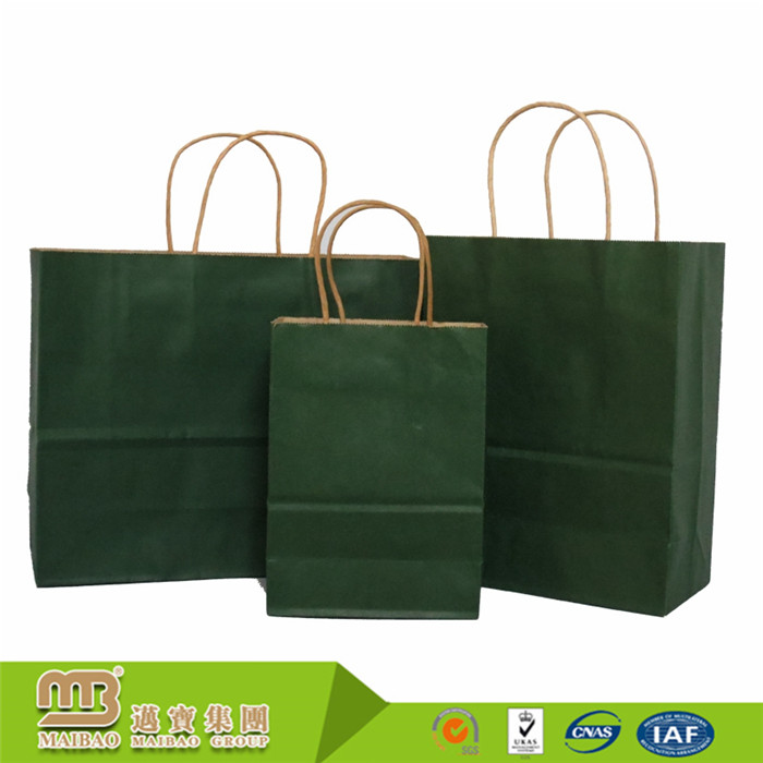 Factory Price Kraft Material Recyclable Custom Shopping Grocery No Printing Paper Bag With Handle