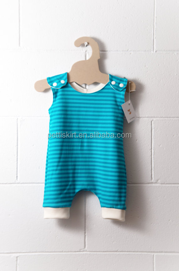 Stylish for spring summer event baby turquoise stripe jumpsuit little boy knit cotton shortall romper