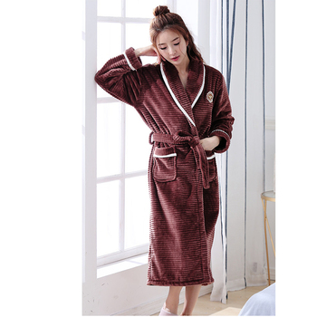 Autumn and winter flannel sexy cute couple long-sleeved robe bathrobe thick  warm men and be2d476f5