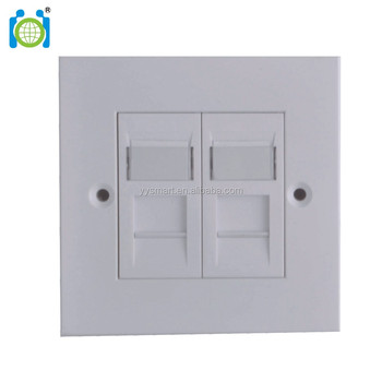CAT.6 UK Type Keystone Wall Plate - 2 Port Keystone Insert Jack Single Gang Wiring Plug Socket Decorative Face Cover Outlet Mou