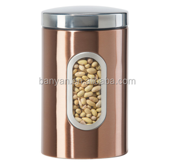 Golden Kitchen Storage Containers Stainless Canister With Window - Buy  Stainless Canister,Kitchen Storage Canister,Kitchen Stainless Canister  Product ...