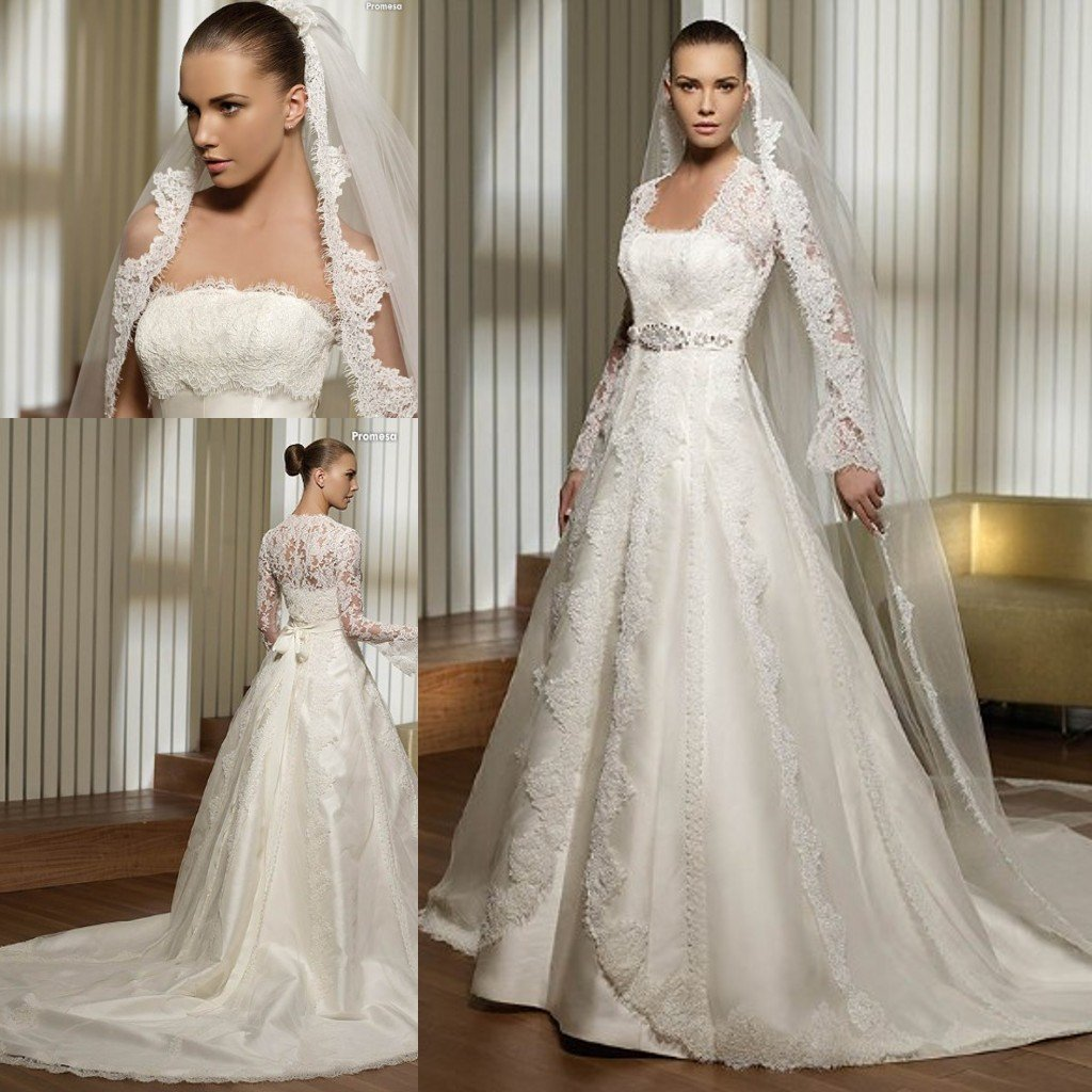 3495 Lace Bust And Long Sleeves Jacket Satin Bridal